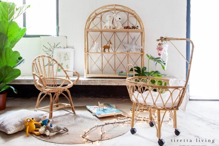 LOGO tiretta living - mueble de caña artesanal - cornet infantil cuna silla estanteria