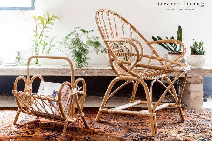 LOGO tiretta living - mueble de caña artesanal - silla pera y revistero vintage kinfolk alfombra retro