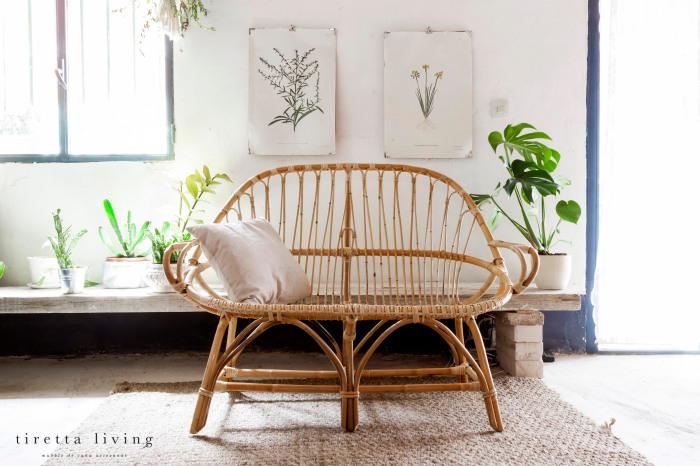 LOGO tiretta living - mueble de caña artesanal - sillon biplaza pera retro vintage salon habitación