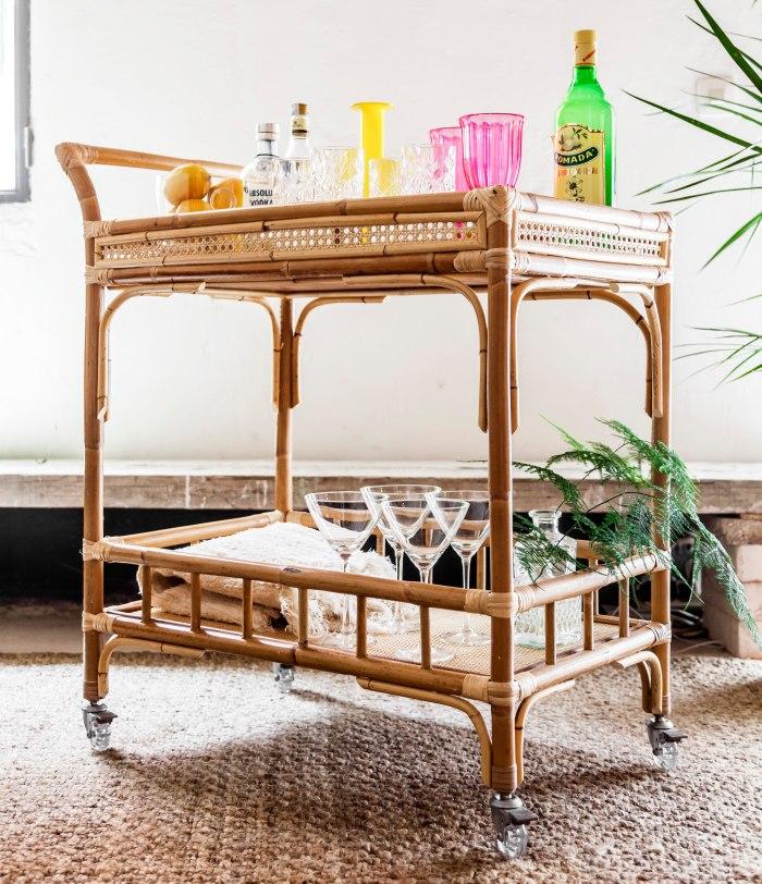 TIRETTA (22) living mueble de caña artesanal hecho en españa camarera carrito bar cart bambu mimbre tireta coctail retro vintage tiki miami